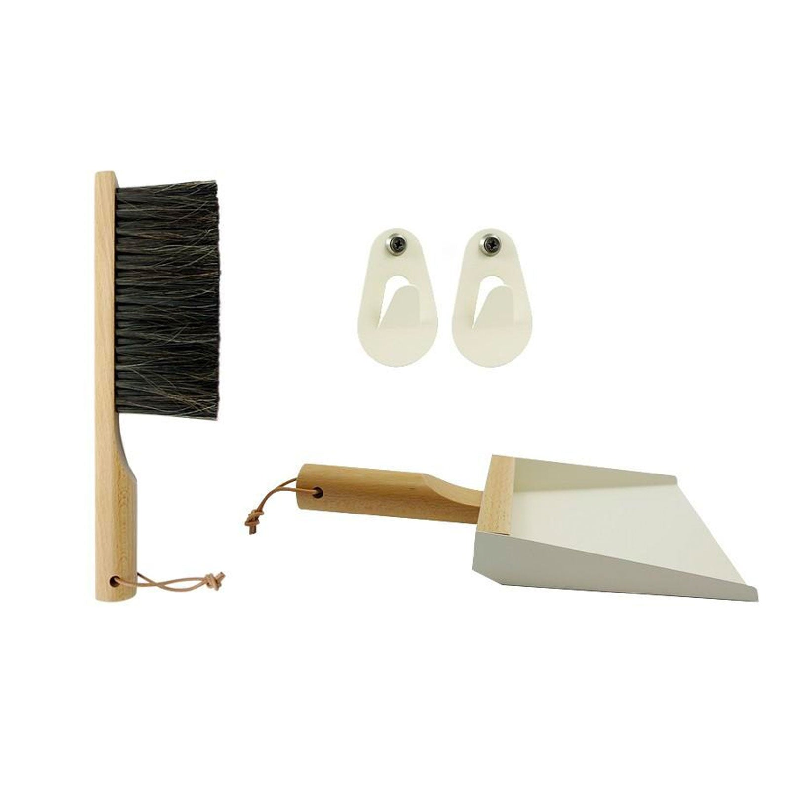 Cream and Natural Dustpan and Brush Set with Hooks