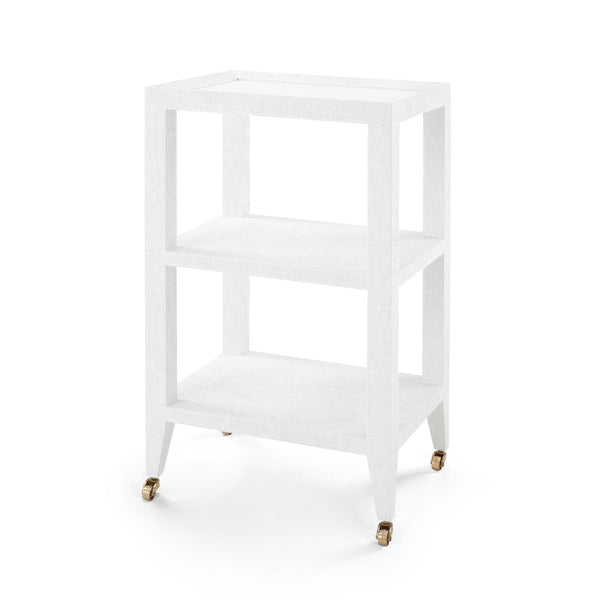 Crosby Side Table in White Grasscloth