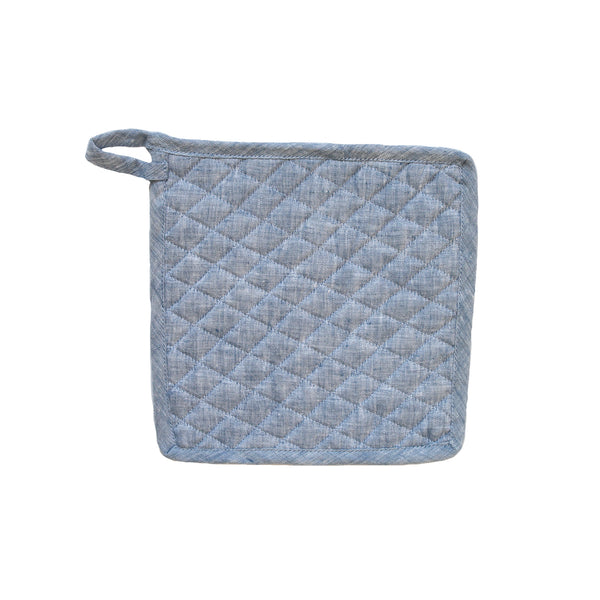 Daisy Pot Holder in Blue Linen
