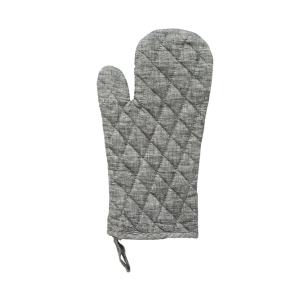 Daisy Oven Mitt in Grey Linen