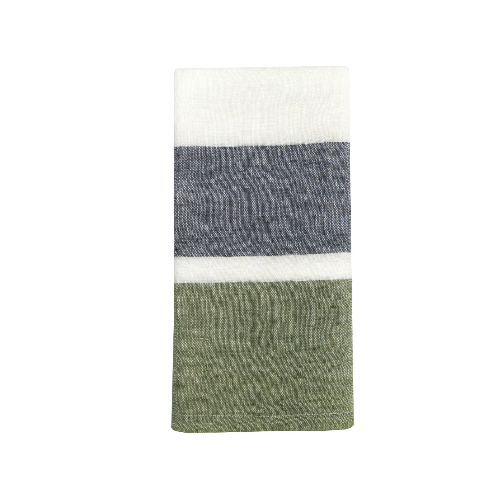 Double Stripe Kitchen Towel in Navy and Forest