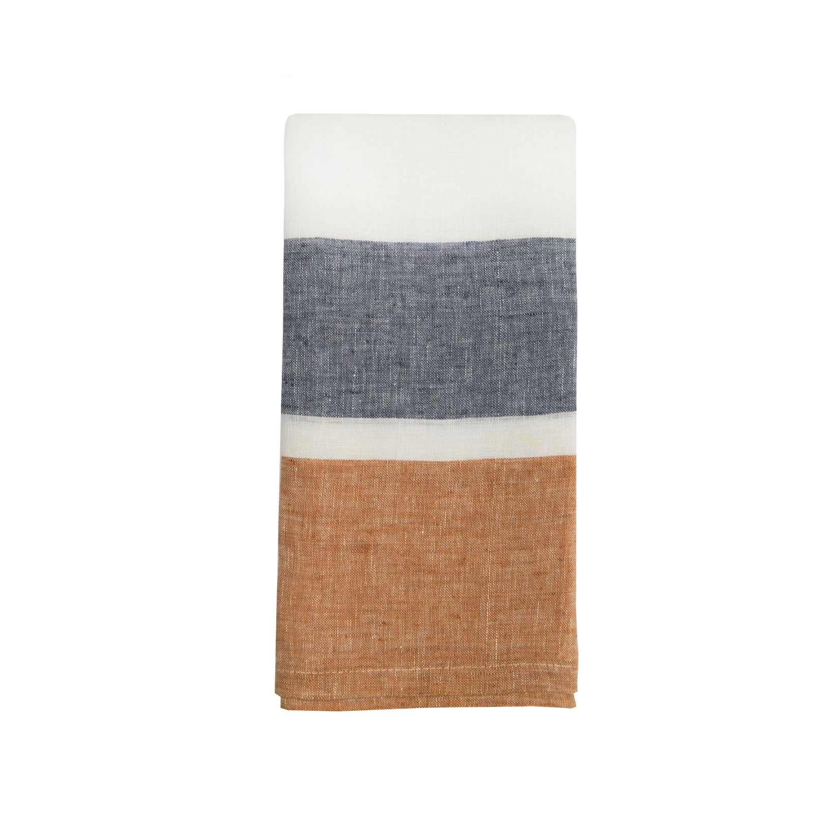 Double Stripe Kitchen Towel in Navy and Spice