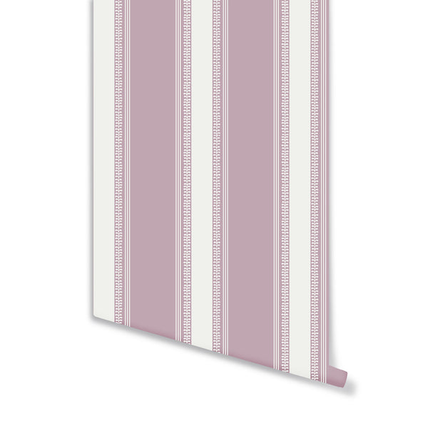 Fern Stripe Wallpaper in Lilac