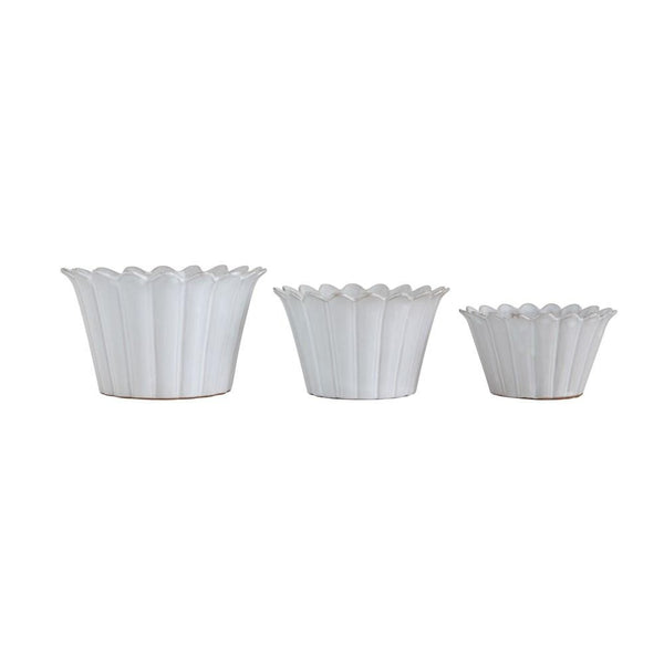 White Fluted Planter Set