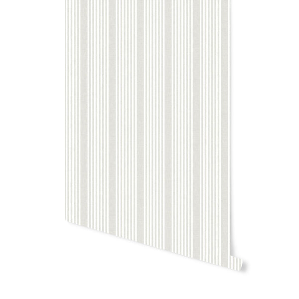 French Stripe Wallpaper in Beige