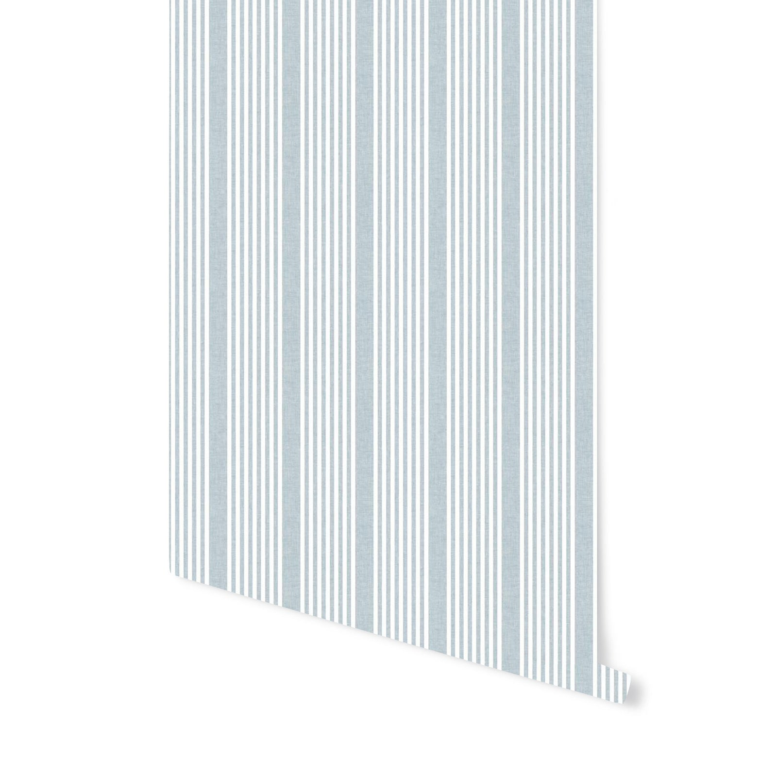 French Stripe Wallpaper in Blue