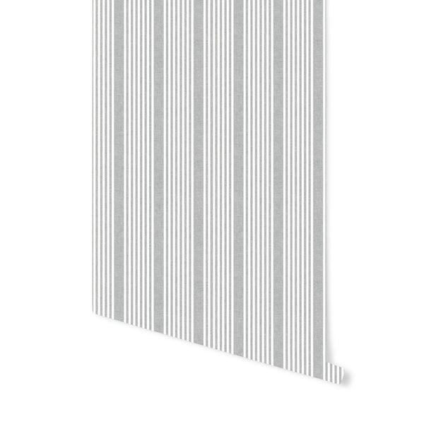 French Stripe Wallpaper in Charcoal
