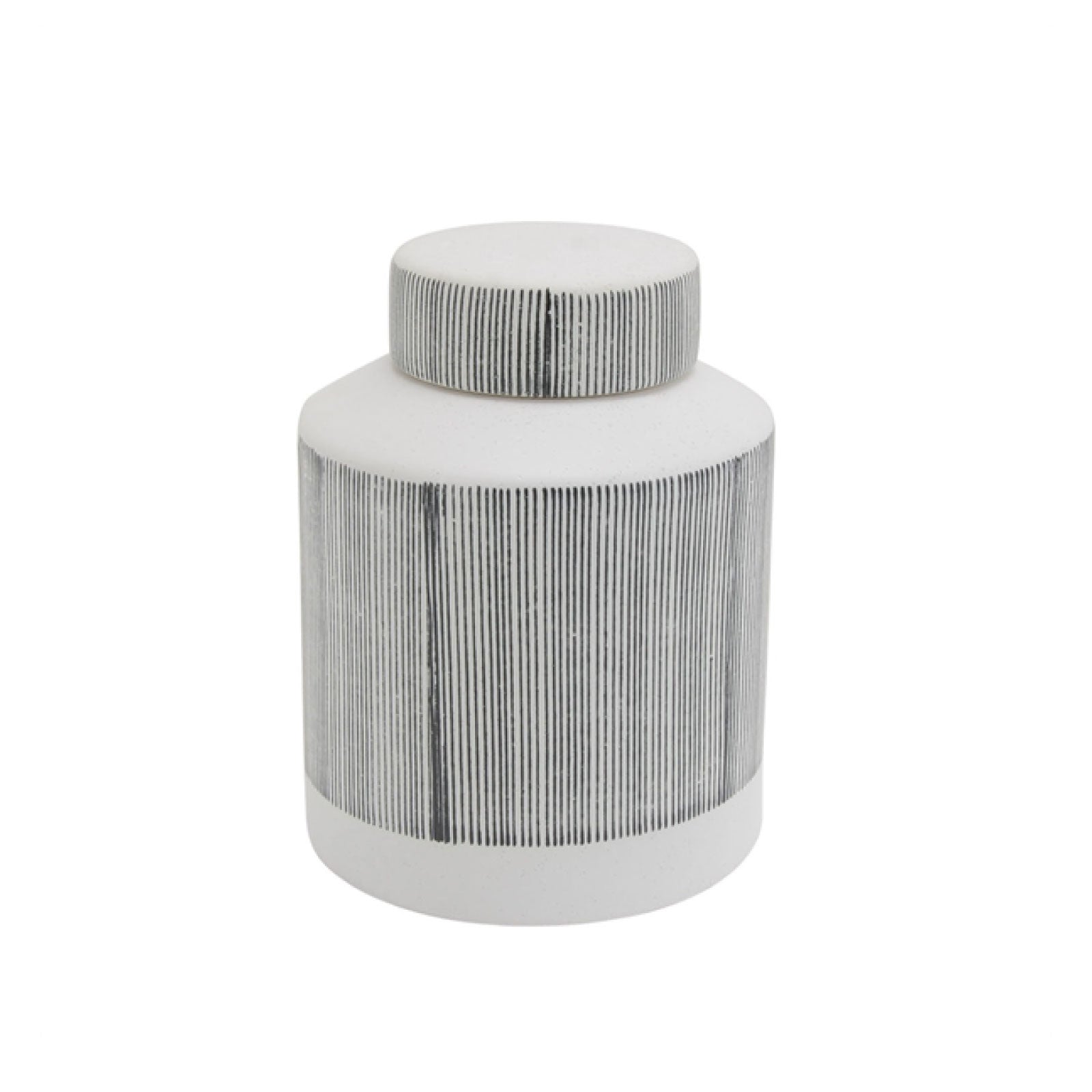 Gray Ceramic Covered Jar