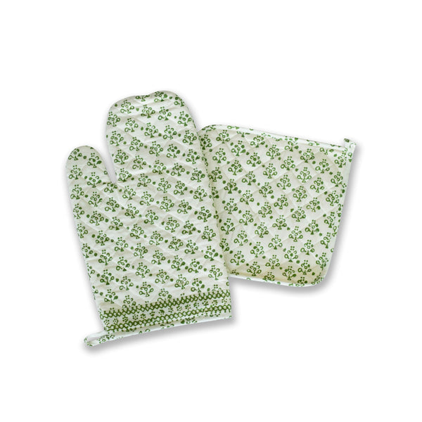 Green Floral Oven Mitt Set