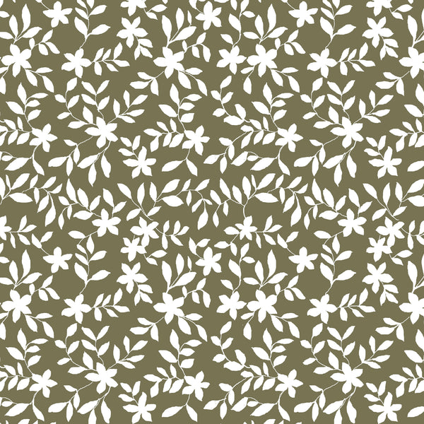 Jo Floral Fabric in Olive