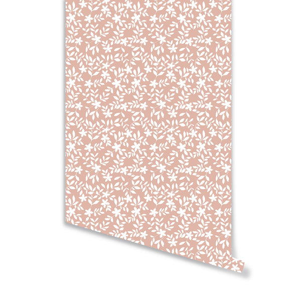 Jo Floral Wallpaper in Soft Coral