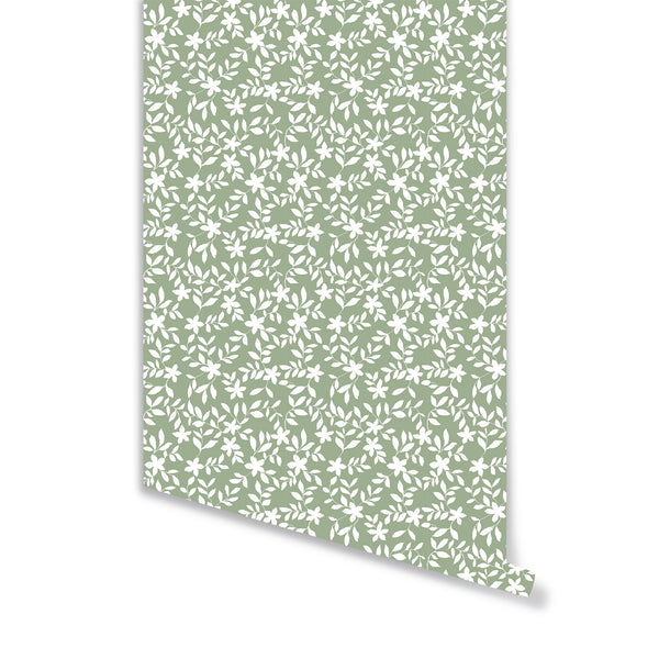 Jo Floral Wallpaper in Sage