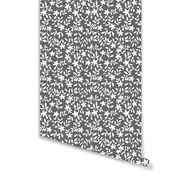 Jo Floral Wallpaper in Charcoal