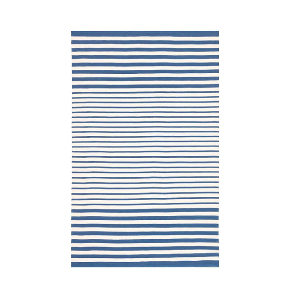 Jonathon Stripe Indoor Outdoor Rug in Denim