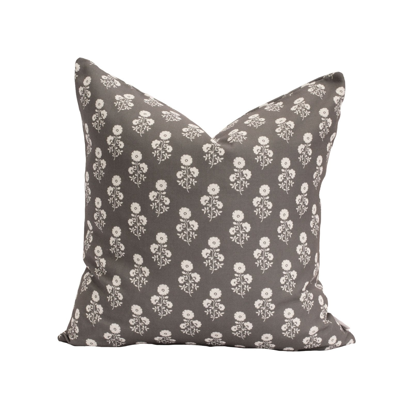 Julia Floral Pillow in Charcoal