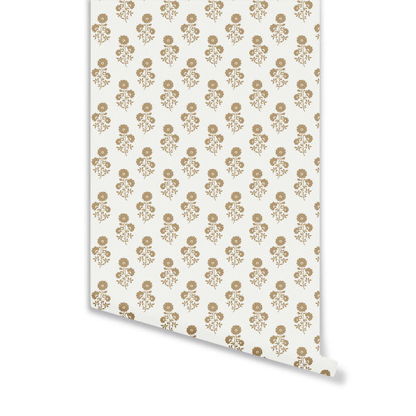 Julia Floral Wallpaper in Camel on White