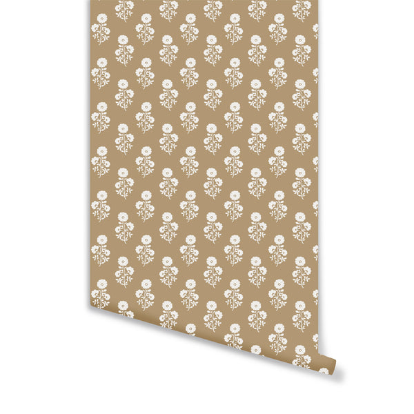 Julia Floral Wallpaper in Camel