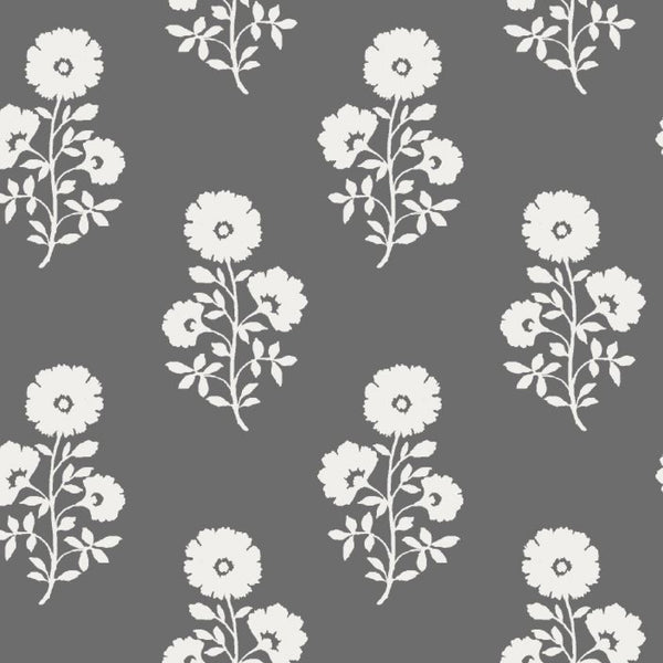 Julia Floral Fabric in Charcoal