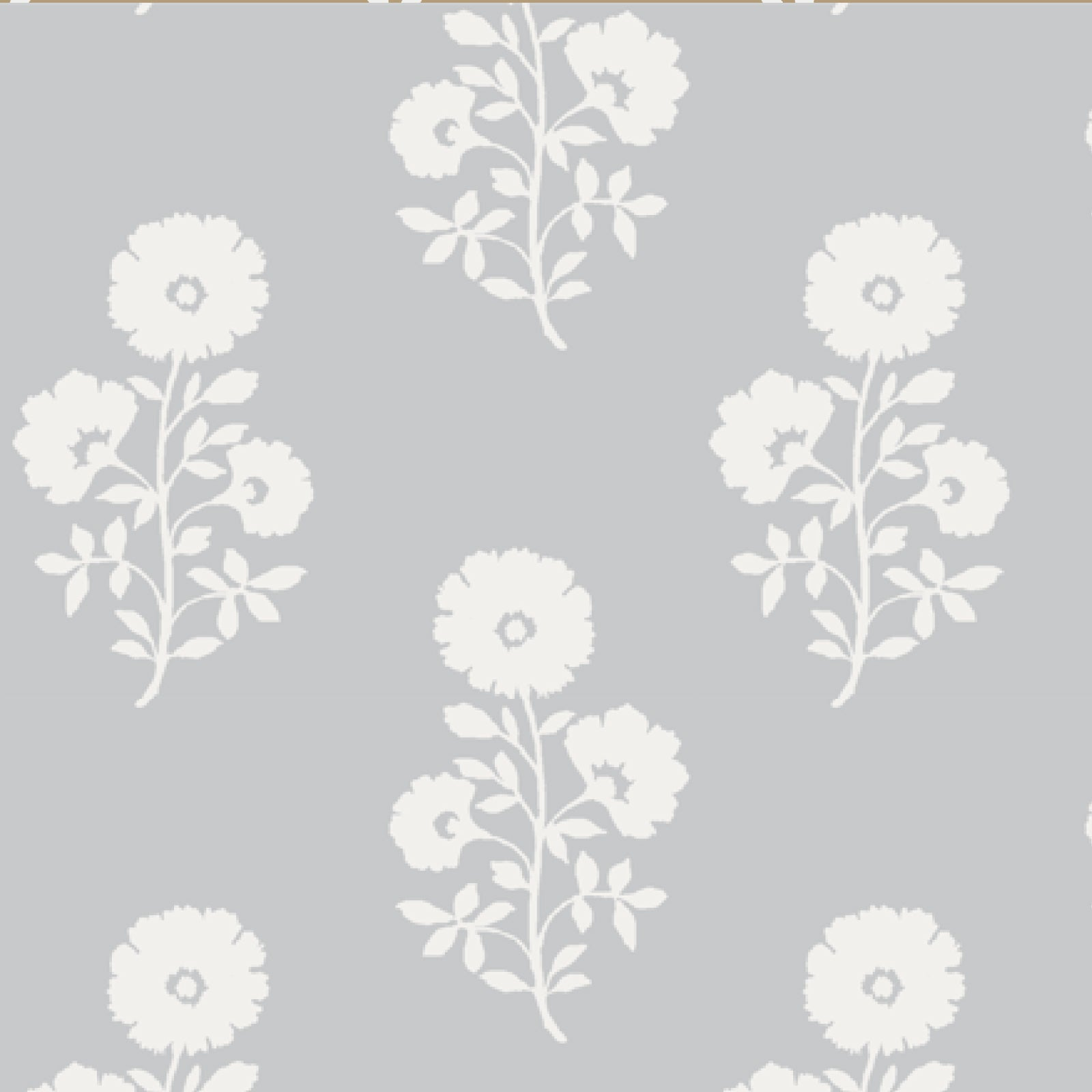 Julia Floral Fabric in Stone Grey