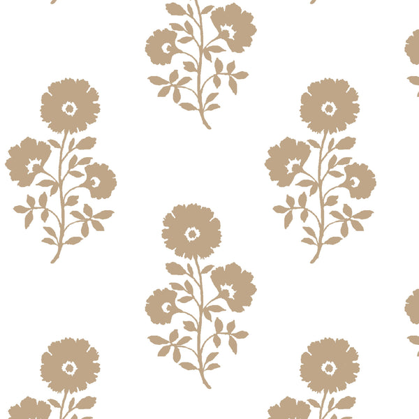 Julia Floral Fabric in Camel on White