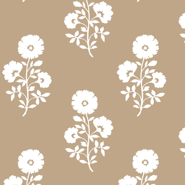 Julia Floral Fabric in Camel