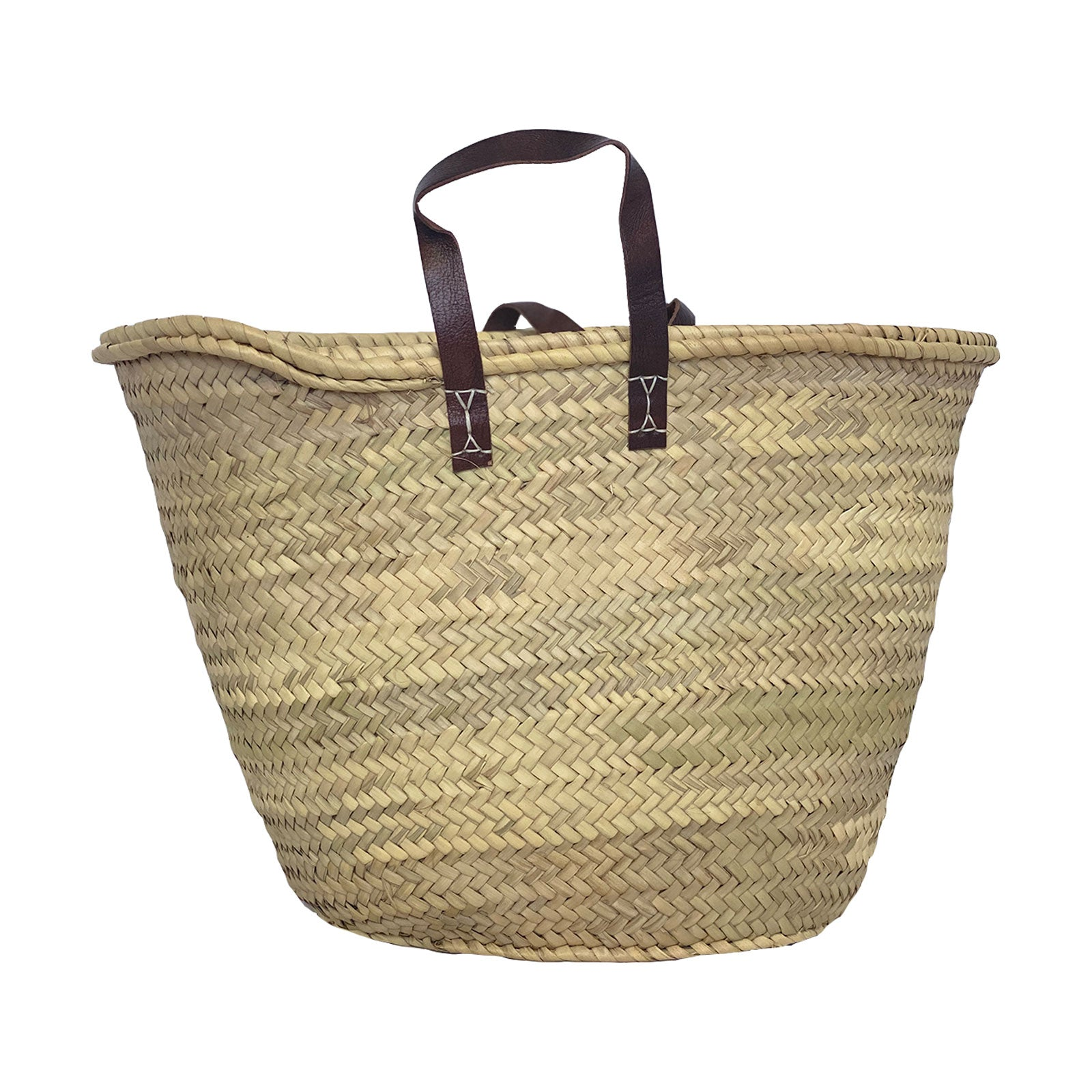 Basket Tote With Leather Handles