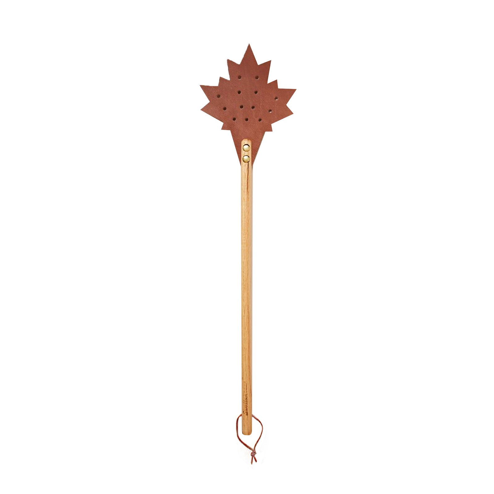 Brown Leather Leaf Motif Fly Swatter