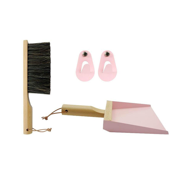 Light Pink and Natural Dustpan and Brush Set with Hooks