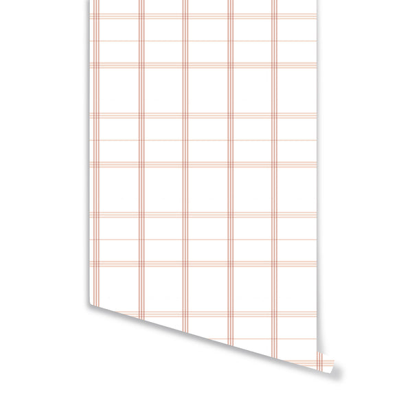 Linden Plaid Wallpaper in Soft Coral
