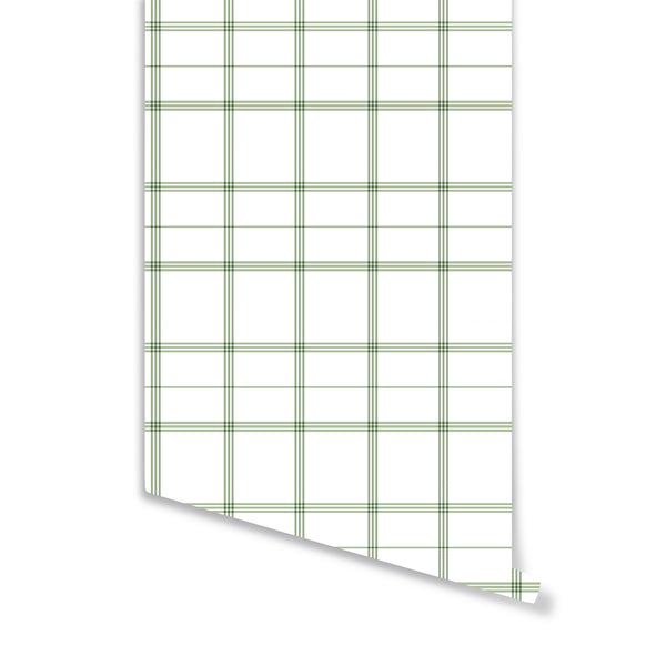 Linden Plaid Wallpaper in Sage