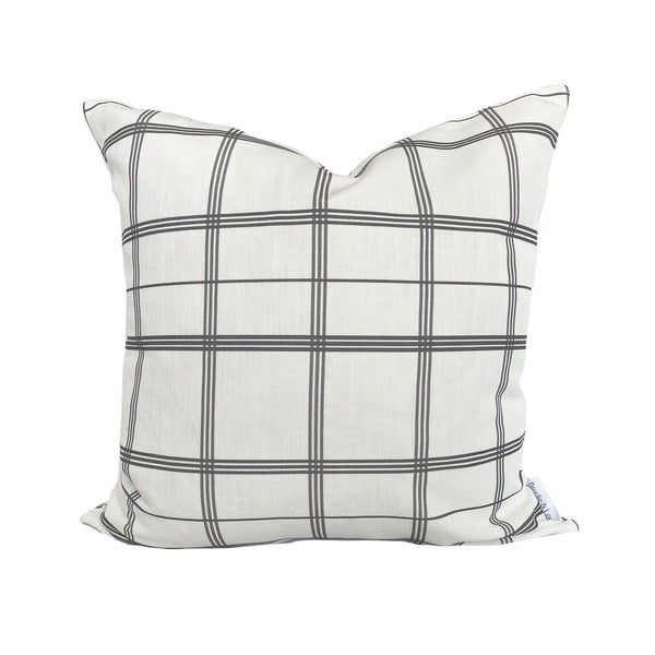Linden Plaid Pillow in Charcoal
