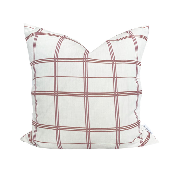Linden Plaid Pillow in Rose