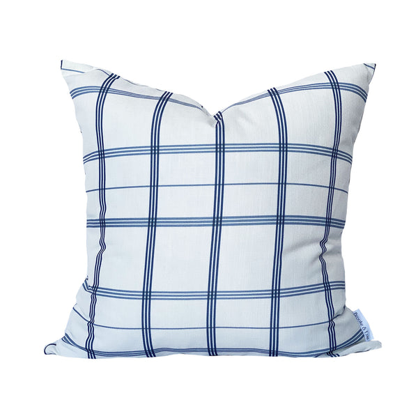 Linden Plaid Pillow in Navy