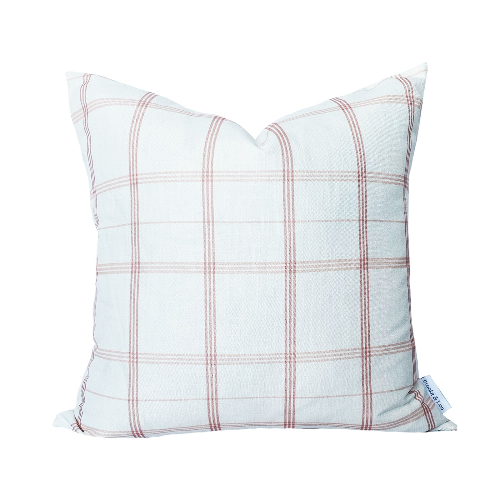 Linden Plaid Pillow in Soft Coral