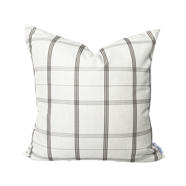 Linden Plaid Pillow in Stone Grey