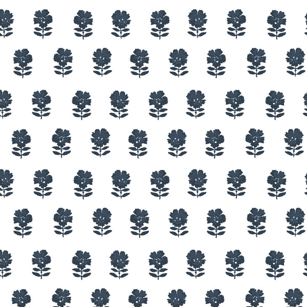 Lulu Floral Fabric in Navy