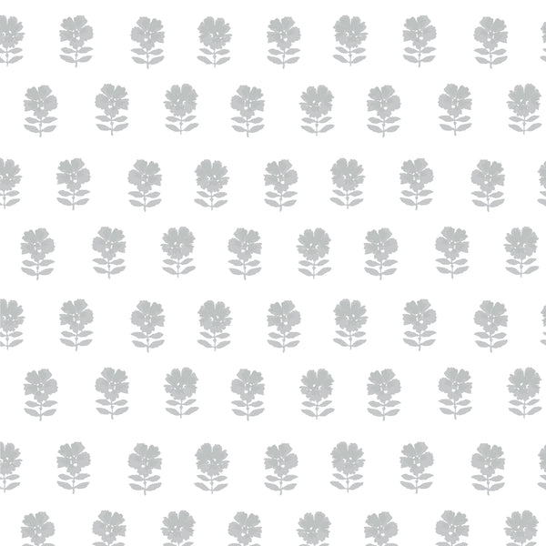 Lulu Floral Fabric in Stone Grey