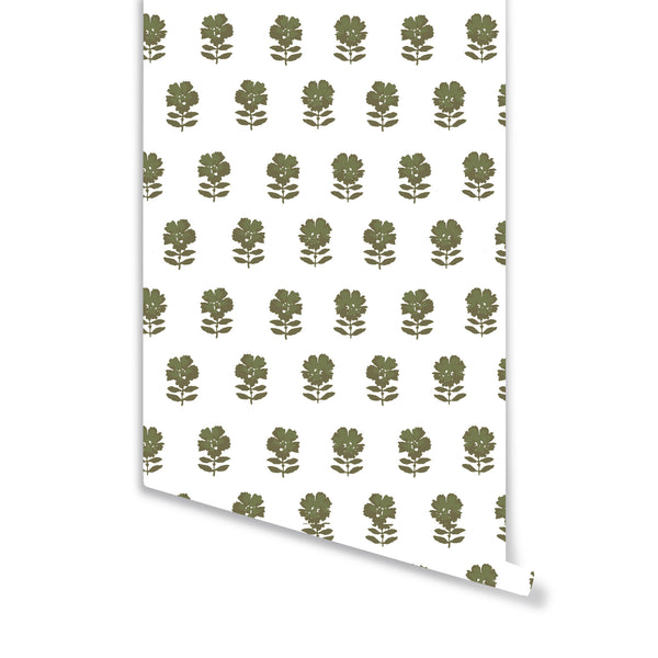 Lulu Floral Wallpaper in Olive