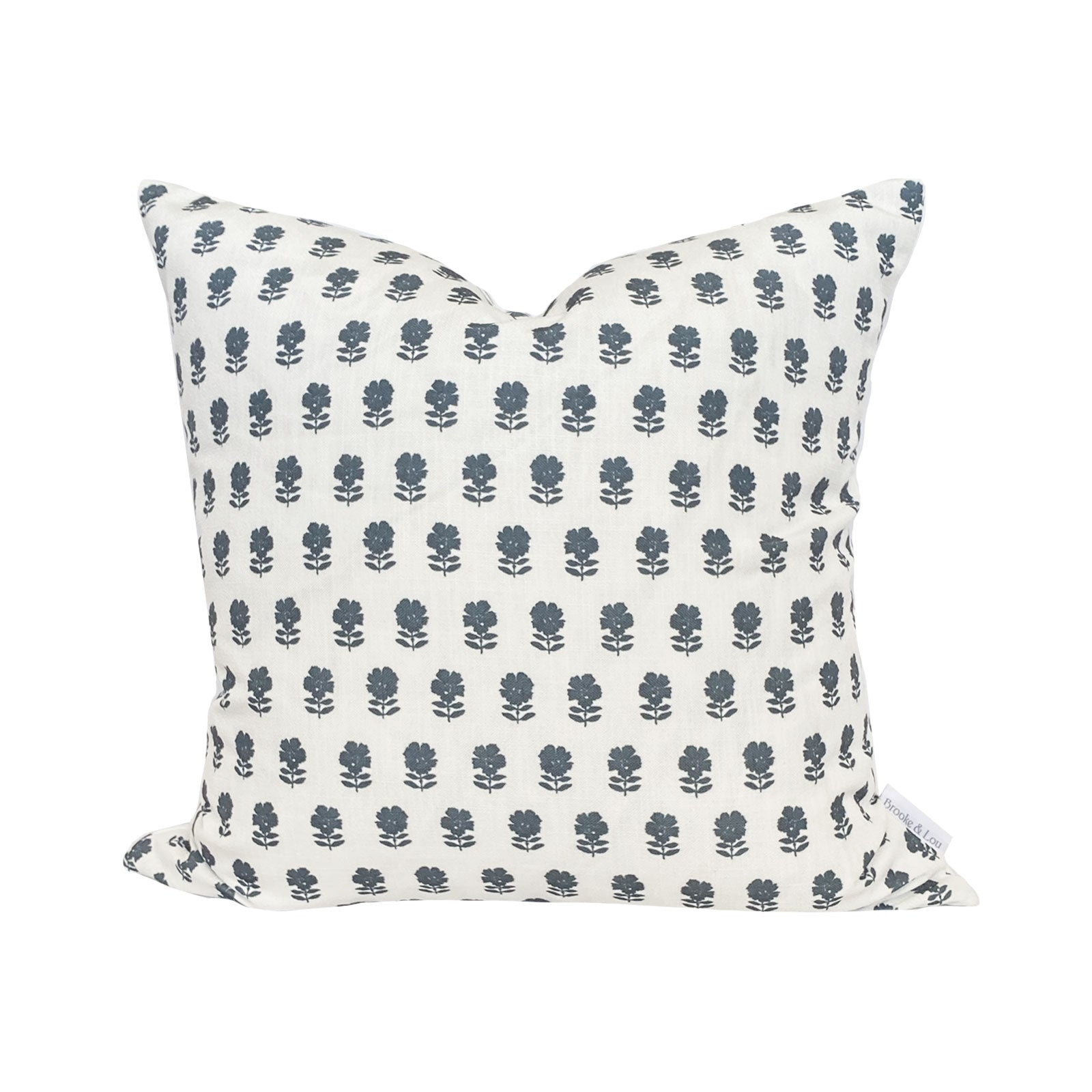 Lulu Floral Pillow in Navy