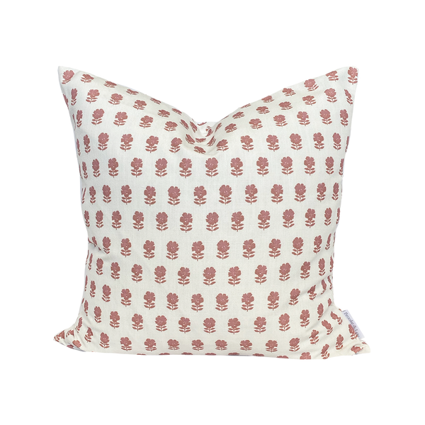 Lulu Floral Pillow in Rose