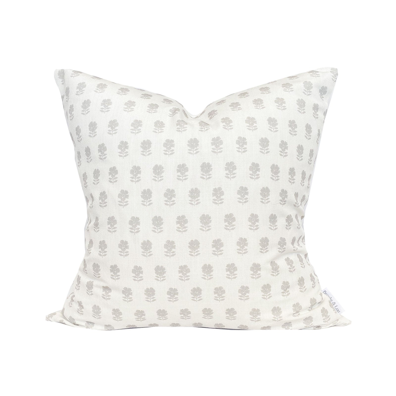 Lulu Floral Pillow in Stone Grey