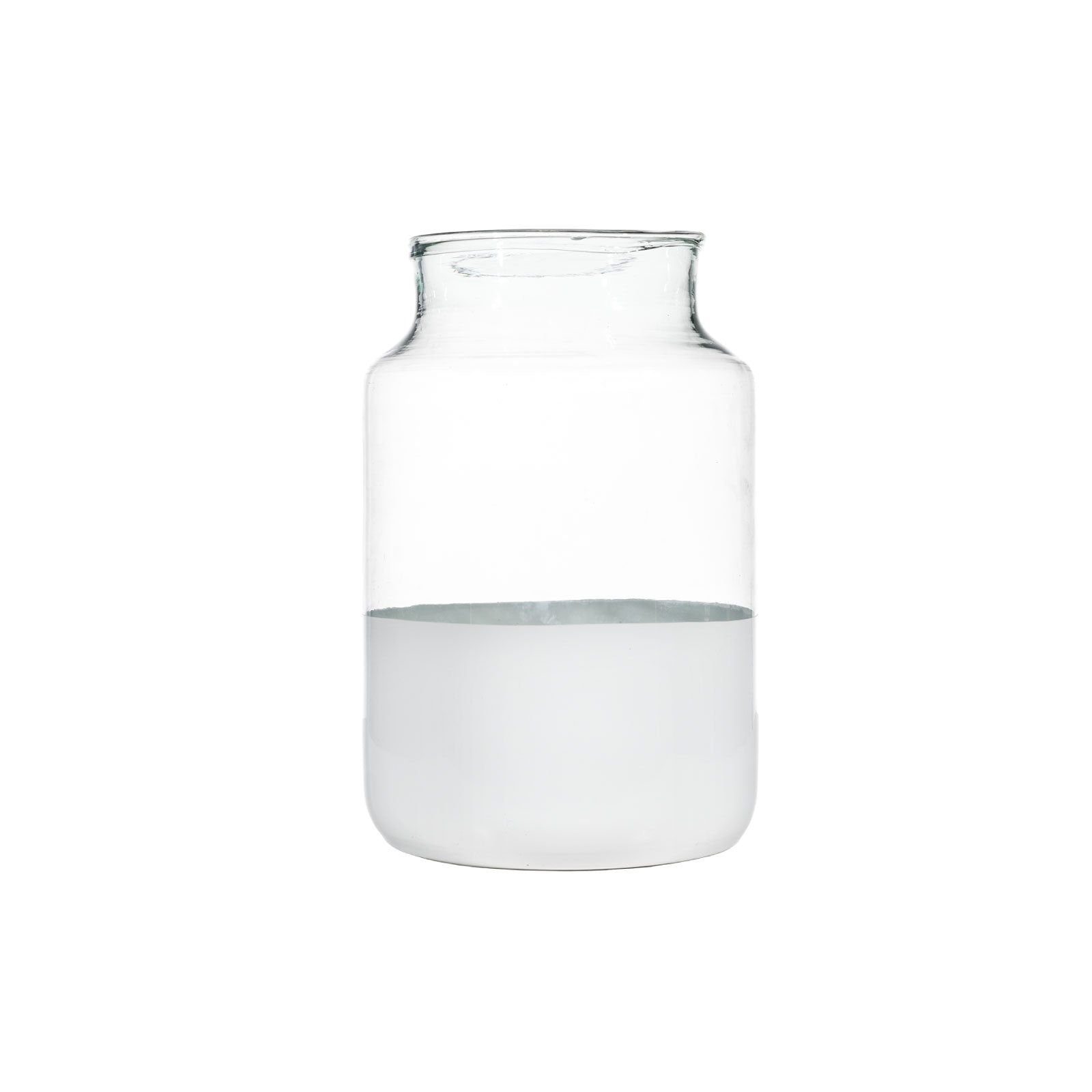Medium White Dipped Glass Jar