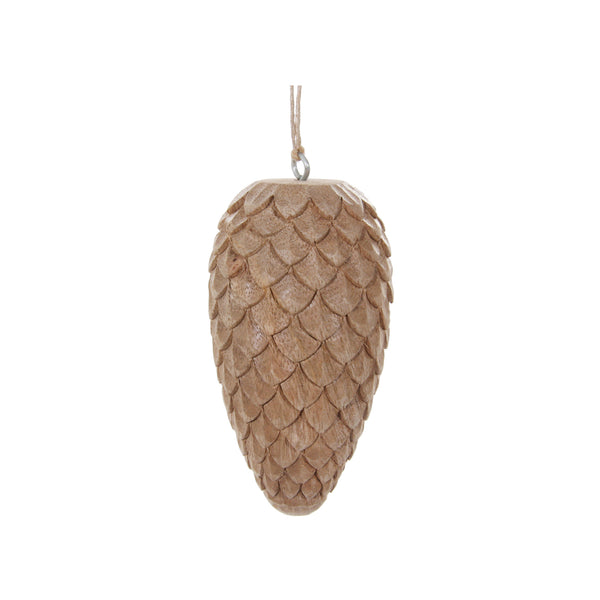 Natural Wood Pinecone Ornament