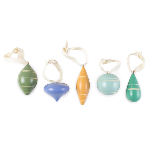 Petite Painted Wood Ornament Set