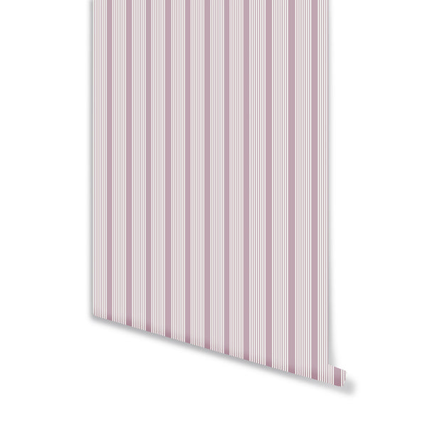 Oscar Stripe Wallpaper in Lilac