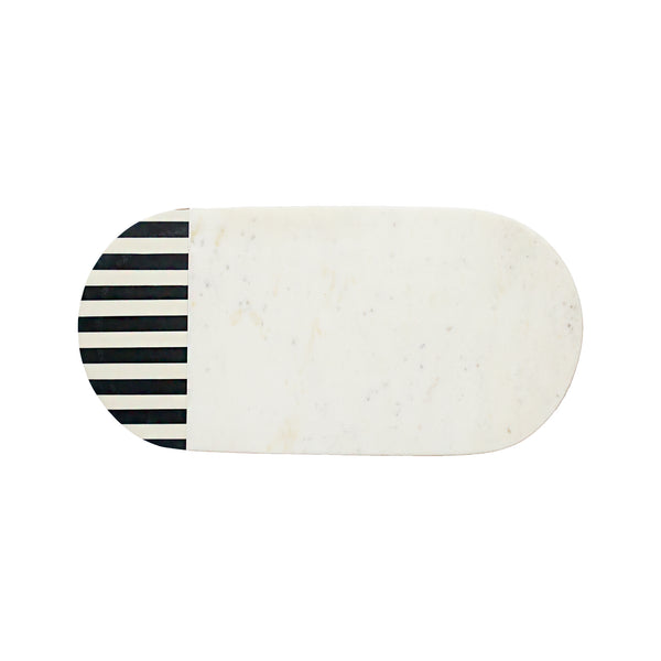 Oval Striped Marble Cutting Board