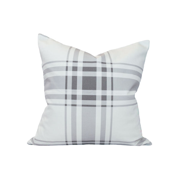 Oxford Plaid Pillow in Stone Grey