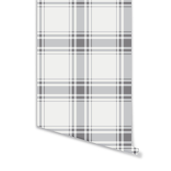 Oxford Plaid Wallpaper in Stone Grey