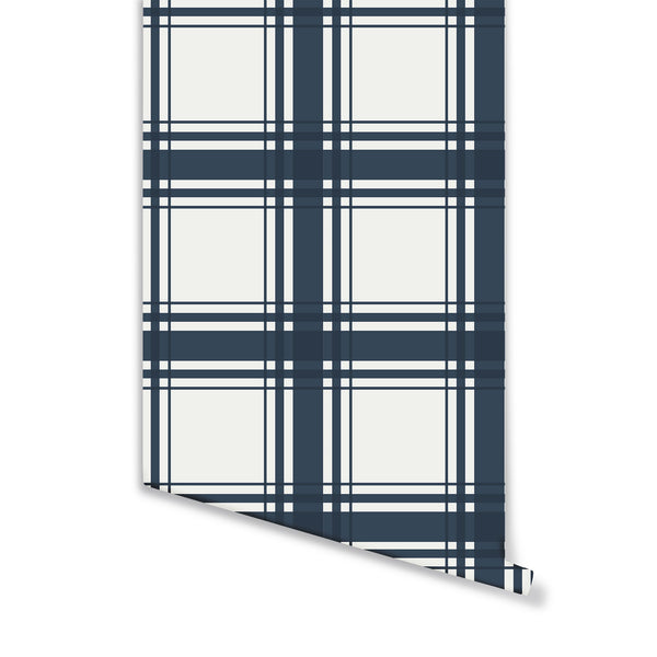 Oxford Plaid Wallpaper in Midnight Blue