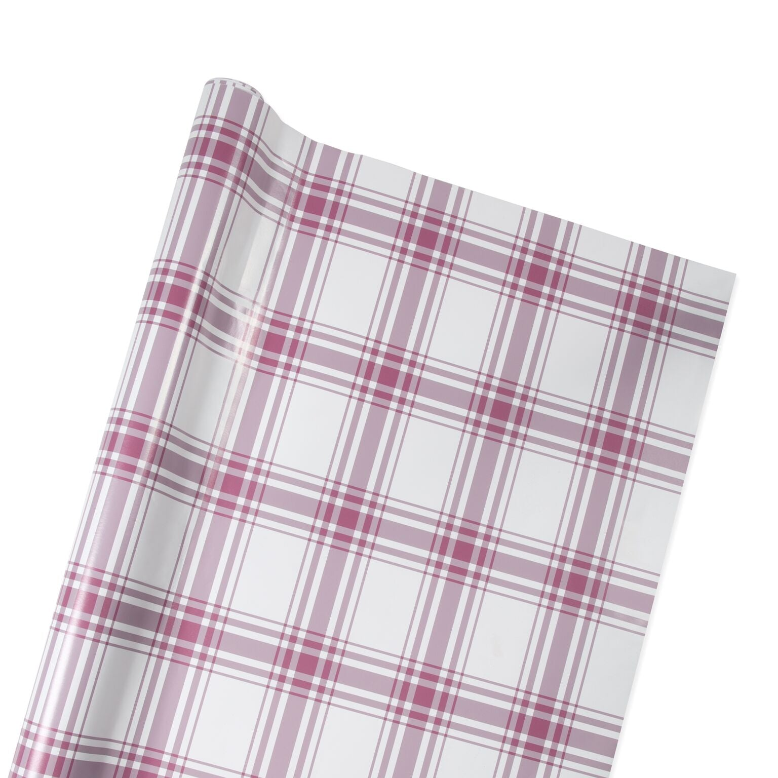 Oxford Plaid Wrapping Paper in Rose